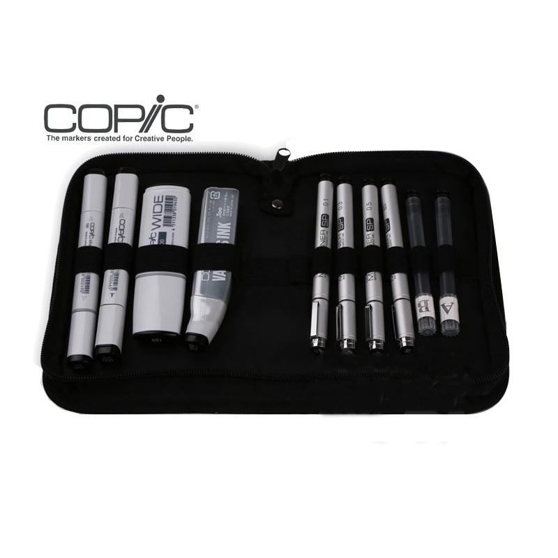 日本copic bipwal 黑色 手绘马克笔 针管笔10pc 组合套装