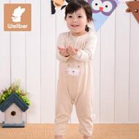 威尔贝鲁 纯棉男女宝宝衣服婴儿哈衣连体衣春秋新生儿爬服0-3-6月