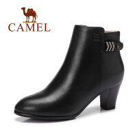 Camel/骆驼女鞋  英伦马丁靴水染小牛皮拉链高跟短靴