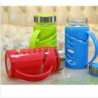 普润  350ml优质塑胶玻璃办公杯 水杯防滑防烫茶杯车载随手杯便携儿童水杯情侣杯子
