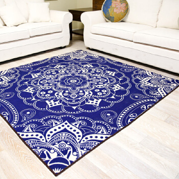 【一橙地毯/地垫】一橙民族风蓝色经典花纹客厅卧室