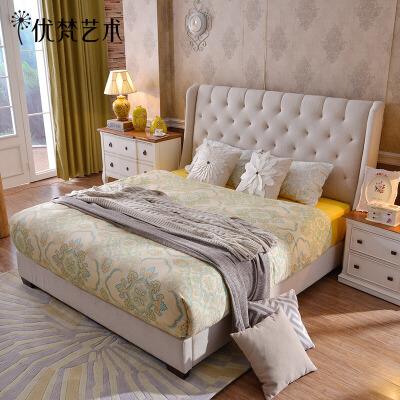 优梵艺术 简约欧式床 1.8米双人床 时尚布艺床+乳胶床垫