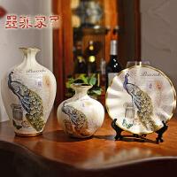 墨菲 欧式摆件 家居装饰工艺品创意客厅玄关陶瓷酒柜电视柜三件套