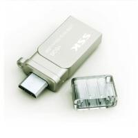 飚王(SSK) 小白 手机U盘优盘 电脑U盘 USB与MICRO USB双插头(SFD238) 32G(银色)