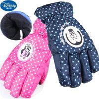 迪士尼米妮米奇女童男童儿童五指滑雪手套冬保暖加厚手套~00147