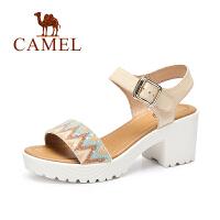 Camel/ 骆驼 高跟凉鞋 时尚百搭魔术贴粗跟新品女凉鞋