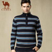 camel骆驼男装 冬季新品外套男士套头韩版潮修身羊毛混纺毛衣