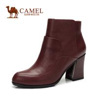 Camel骆驼女靴 简约 小圆头侧拉链粗高跟小牛皮短靴