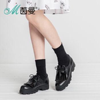 茵曼女鞋2016秋新款交叉绑带流苏单鞋英伦风复古休闲鞋4863013006