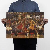 詹姆斯VS科比 篮球励志/怀旧复古牛皮纸海报 51*35.5
