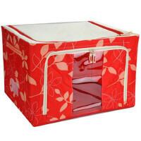 牛津布钢架百纳箱 特大号有盖 收纳盒 整理收纳箱 80L 红色树叶