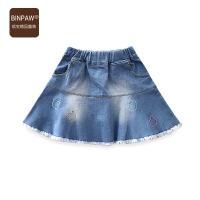 中大童短裙 童装女童秋装半身裙全棉时尚刺绣磨白柔软牛仔腰裙