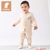 威尔贝鲁 宝宝内衣纯棉套装春秋 婴儿前开立领保暖彩棉内衣秋冬厚款