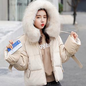 【满2件6折】白领公社 牛仔衣 女士秋季新款纯色翻领休闲牛仔衫上衣韩版女式长袖字母白色印花学生夹克外套