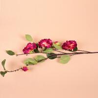 墨菲 山茶花仿真花 现代简约小清新花艺卧室客厅落地摆设花卉