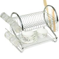 文博金属双层碗架沥水架厨房置物架多功能碗碟架 放碗架柜
