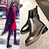 2016秋冬新款时尚短靴小香链条切尔西女士粗跟裸靴中跟平底马丁靴