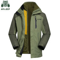 2015冬装新款战地吉普AFS JEEP 内胆帽子可以脱卸冲锋衣 防水防雨防寒保暖 男士外套