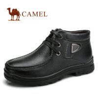 CAMEL骆驼 头层牛皮 新款商务休闲男靴 保暖绒毛里短靴男士靴子