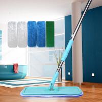 能臣平板拖把木地板专用地拖尘推旋转夹布防静电拖把带5片拖布