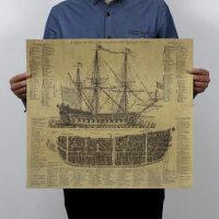 牛皮纸海报 怀旧复古 帝国古战舰图纸 墙面装饰画 46.5*51.5cm
