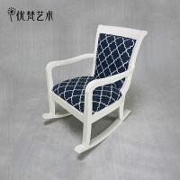 优梵艺术 2015新品欧式实木沙发椅 维安清新白色兰格摇椅