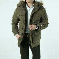2015冬装新款战地吉普AFS JEEP 专柜正品中长款大毛领羽绒服外套 H-16可脱卸帽男士防寒羽绒衣