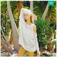 新款针织衫套罩衫长款时尚遮阳防�鸨然�尼泳衣外套流苏白色中   可礼品卡支付