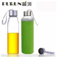 普润 550ML耐热玻璃水瓶创意车载玻璃杯子矿泉水瓶带盖茶杯PRB15