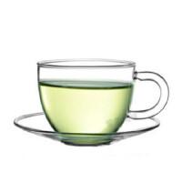 自由城 手工加厚耐热玻璃杯 功夫茶具套装 闻香杯 茶杯 配碟子1204