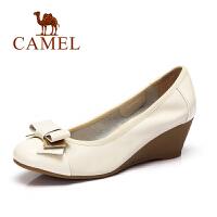 camel骆驼女鞋 时尚休闲女鞋2016春季新款牛皮坡跟单鞋