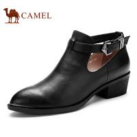 camel骆驼女靴子  秋季新款短靴 时装休闲 软面牛皮扣带短靴