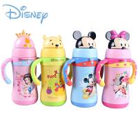 迪士尼米奇儿童吸管杯带手柄宝宝防漏水杯 不锈钢真空保温杯 5760