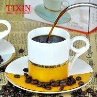 TIXIN/梯信 英伦咖啡杯 直口花茶杯骨质陶瓷杯子单品咖啡杯碟套装