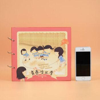 包邮韩版可爱卡通手绘 青春毕业季同学录 纪念册 铁圈盒装同学录