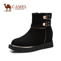 Camel骆驼女鞋 华贵 圆头厚底内增高侧拉链牛巴戈女靴