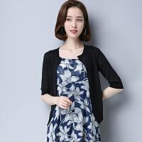 新款V领开衫时尚短款薄针织衫五分袖韩版修身宽松女装  可礼品卡支付