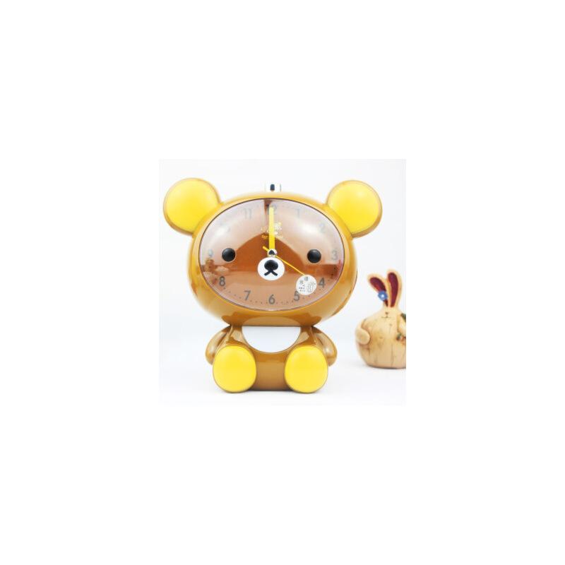 轻松熊兔兔会说话语音带夜灯 静音闹钟 儿童卧室静音台钟 创意可爱
