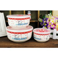 懿聚堂 陶瓷保鲜碗三件套 微波炉饭盒保鲜盒 保鲜便当盒陶瓷碗微波炉 碗