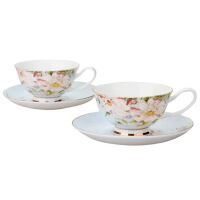 [当当自营]SKYTOP斯凯绨 陶瓷高档骨瓷茶具 300ml山茶花咖啡对杯碟 蓝色