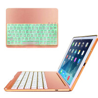 ikodoo爱酷多 苹果 2017新iPad(A1822)/iPad Air/iPad Air2/iPad Pro9.7金属夜光无线蓝牙键盘保护套 七彩背光按键 笔记本型 金属保护壳 ipad5保护套 ipad6键盘 air3皮套
