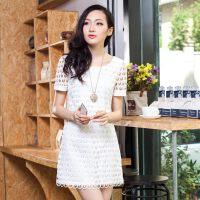 特尚莱菲 夏季新款女裙韩版修身圆领短袖连衣裙蕾丝镂空连衣裙FS3060