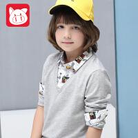 小猪班纳童装男童长袖T恤2017春秋儿童休闲体恤男大童假两件上衣