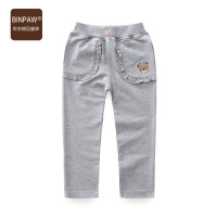 binpaw女童秋装长裤 2017新款宝宝纯棉运动裤儿童纯色韩版针织裤